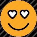 adoring, emoticons, hear eye, heart, in love, love, loving, romance icon