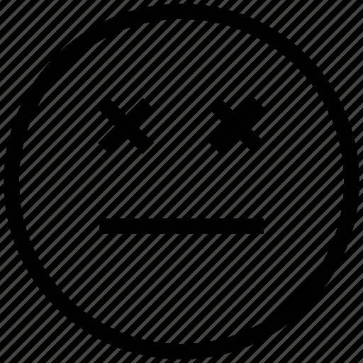 emoticons, emotion, expression, eyeless, face smiley, sad, sealed eye, smiley icon