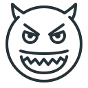 angry, devil, evil, grin, smile, smiley icon