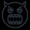 angry, demon, devil, emoji, evil, hatred icon