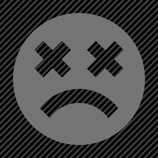 dead, emoji, frown, sick icon