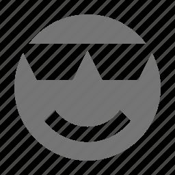 cool, emoji, glasses, happy, smile icon