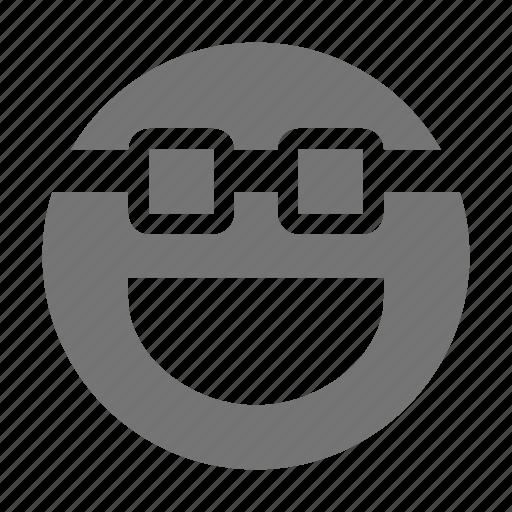 emoji, glasses, happy, smile, smiley icon
