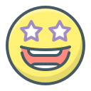 emoji, excited, face, smile, stars icon