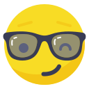 boss, fun, glasses, playful, smile, smiley, wink icon