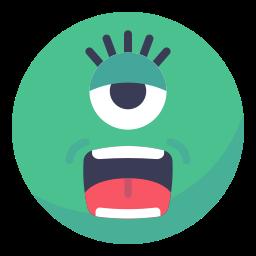 alien, eye, face, friend, smile, smiley, ufo icon