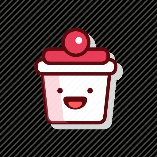 birthday, candle, cherry, cream, cupcake, muffin, sweet icon