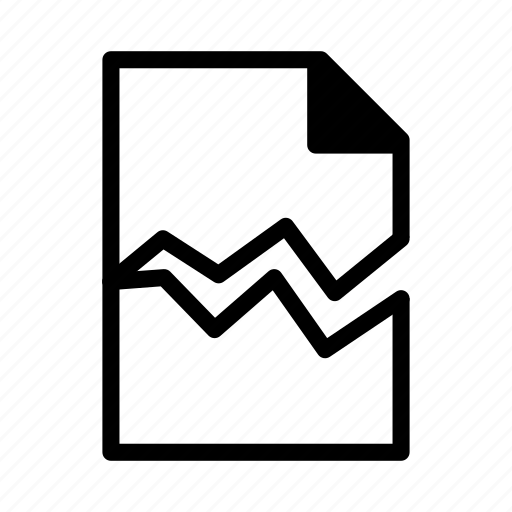 broken, damaged, document, file, text icon