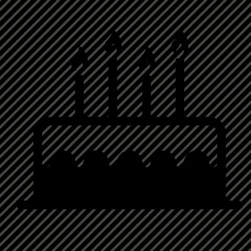 birthday, cake, candle, dessert, food, sweet icon