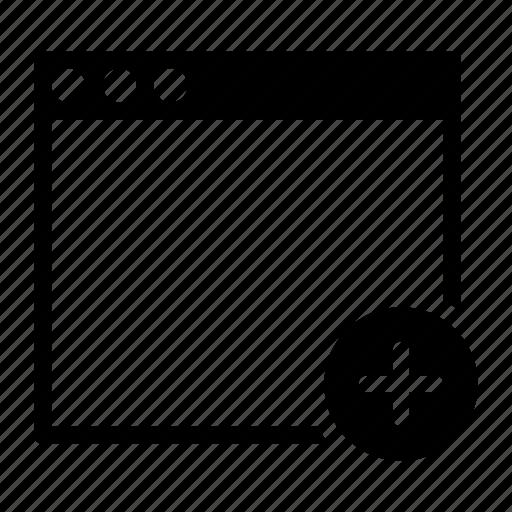 add, application, interface, plus, window icon