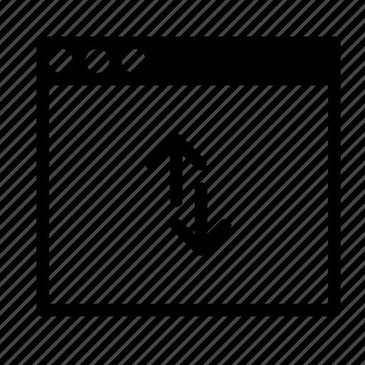 application, arrow, fetch, interface, sync, window icon