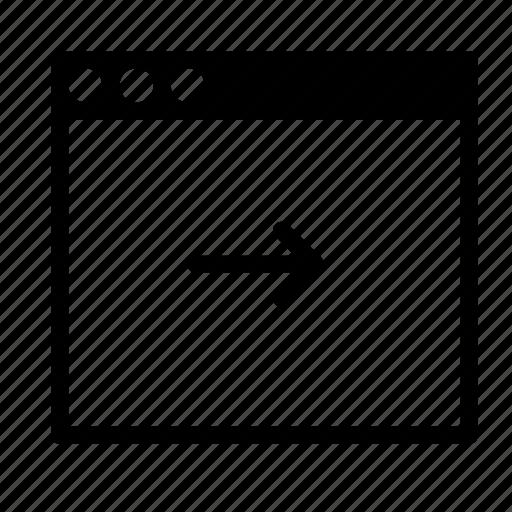 application, arrow, interface, next, window icon