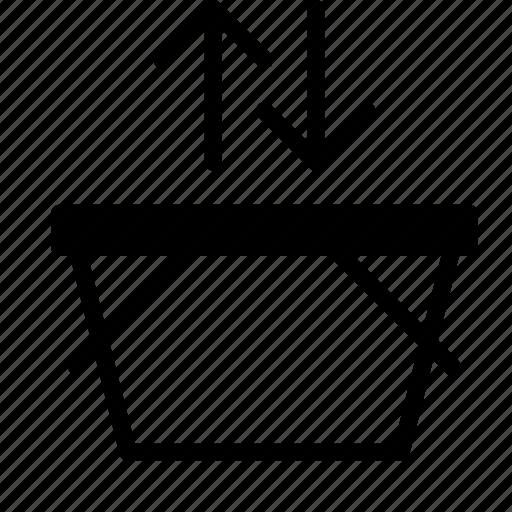 arrow, basket, buy, fetch, shop, shopping icon