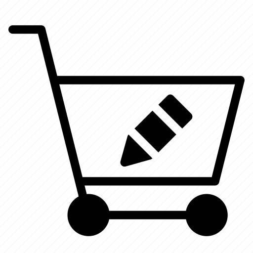 buy, cart, edit, pen, shopping, trolley icon
