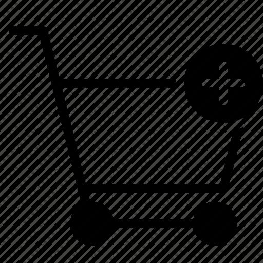 add, buy, cart, plus, shopping, trolley icon