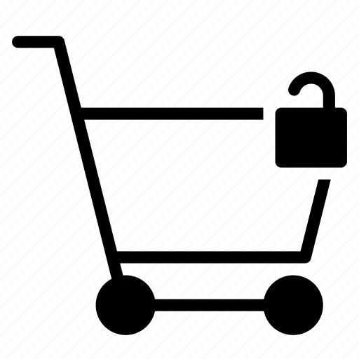 buy, cart, secure, shopping, trolley, unlock icon