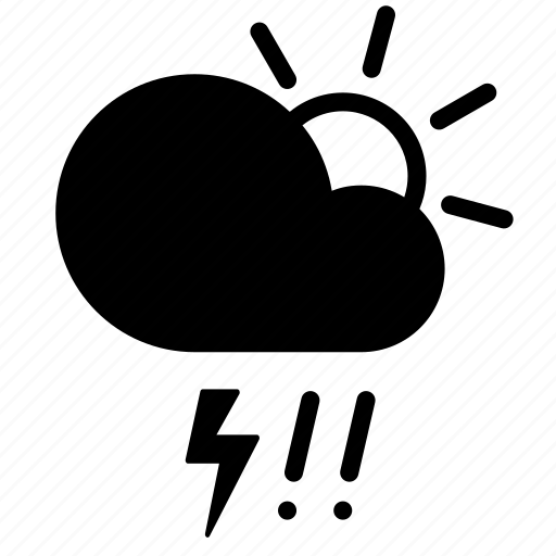 cloud, day, forecast, hail, lightning, storm, weather icon