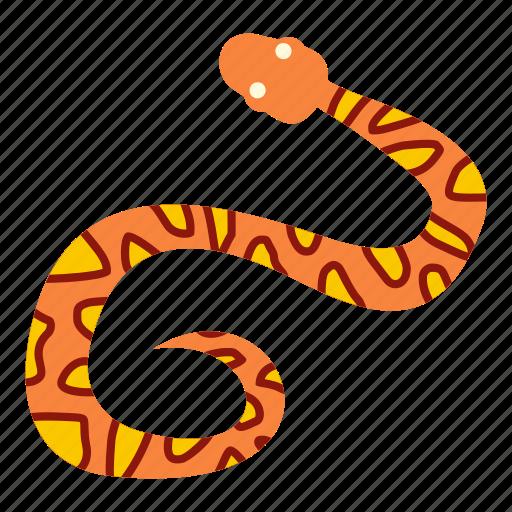 animal, danger, nature, orange, serpent, snake, wildlife icon
