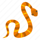 animal, brown, danger, nature, orange, serpent, snake icon