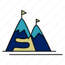 clouds, mountains, resort, ski, snow icon