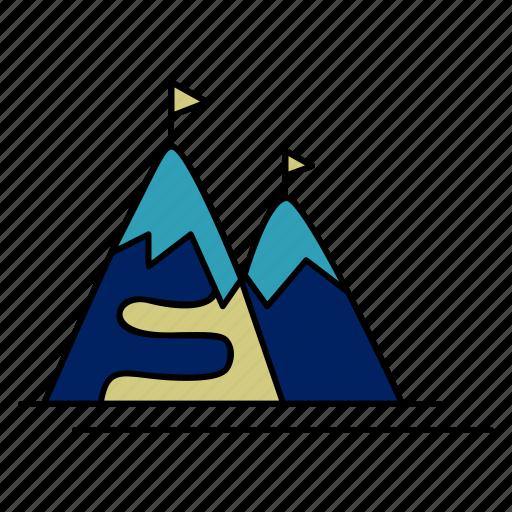 clouds, mountains, resort, ski, snow icon