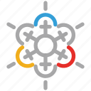 decorations, snow, snowflake, snowflake for christmas icon