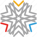 origami style, snow, snowflake, winters icon
