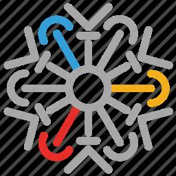 decorations, detailed design, snow, snowflake icon