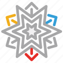 christmas, snow, snowflake, star shape icon