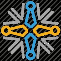 christmas, snow, snowflake, snowflake shape icon