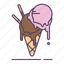 chocolate, cream, dessert, ice, scoops, strawberry, topping icon