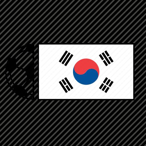 ball, country, flag, football, korea, soccer, south icon