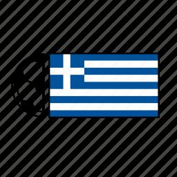 ball, country, flag, football, greece, soccer icon
