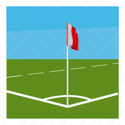 cartoon, competition, corner, field, flag, football, sport icon