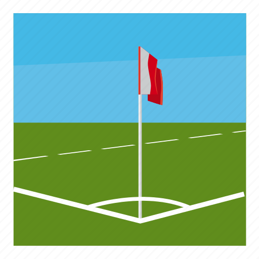 cartoon, competition, corner, field, flag, football, sport icon