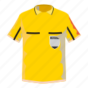 cartoon, cloth, number, referee, shirt, soccer, yellow icon