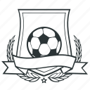football, ribbon, shield, soccer, sport, star icon