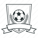 football, ribbon, shield, soccer, sport, star icon