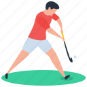 hockey, hockey player, nine holes, outdoor game, sport icon