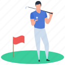 golf, golf player, nine holes, outdoor game, sport icon