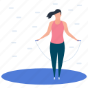 athlete, fitness, gymnastic lady, jumping rope, sportswoman icon