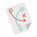 chalk, diagram, football, paper, soccer, strategy, tactic icon