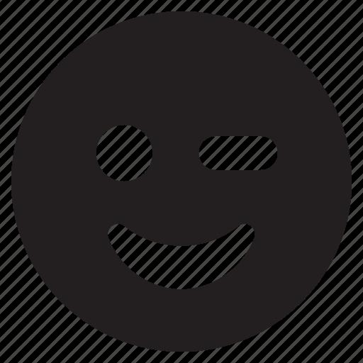 cartoon, emoticon, emotion, face, smiley, wink icon