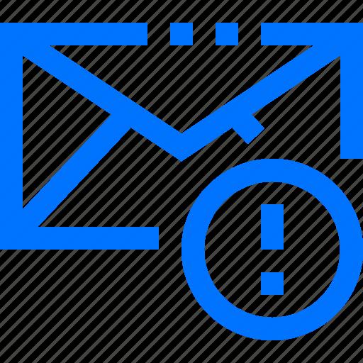alert, communication, email, error, report, social, warning icon
