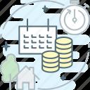 calendar, housing, installment, money, payment, utilities