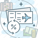 airplane, cashback, percent, ticket, travel icon