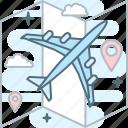 airplane, map, pin, plane, travel, trip icon