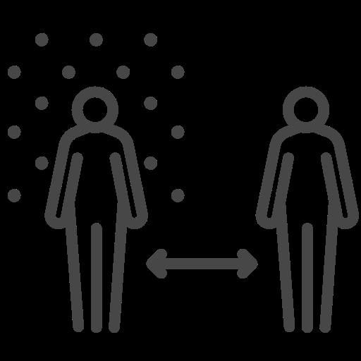 coronavirus, range, social distancing, space icon