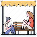 man, woman, over bench, worried, social issues, problems, stressed