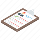 evaluation report, list, project report, report, survey report icon